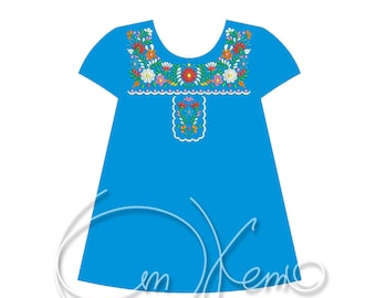 MACHINE EMBROIDERY DESIGN - Mexican dress for girl