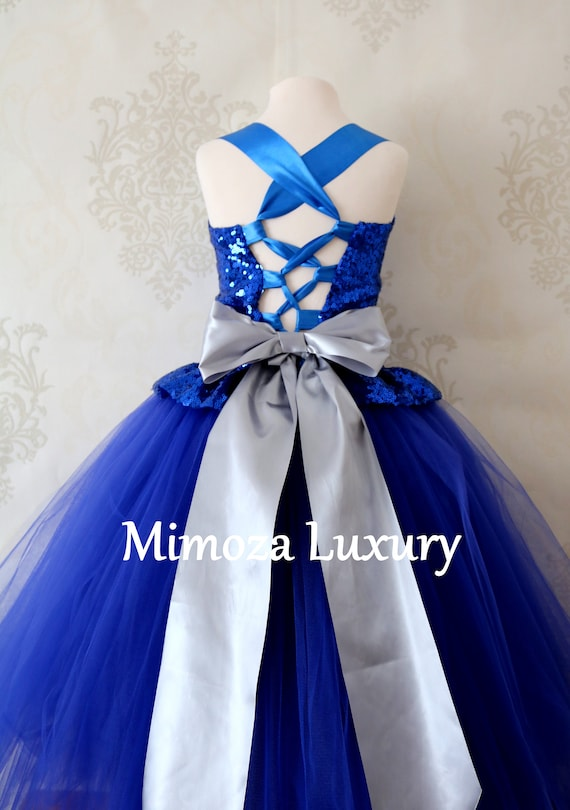Luxury Royal Blue Flower Girl Dress, blue bridesmaid dress, couture royal blue flower girl gown, bespoke girls dress, tulle princess dress