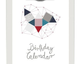 Perpetual Birthday Calendar, DIY, Printable PDF, Instant Download, Hand Made Birthday Calendar in Contemporary Design with Calligraphy