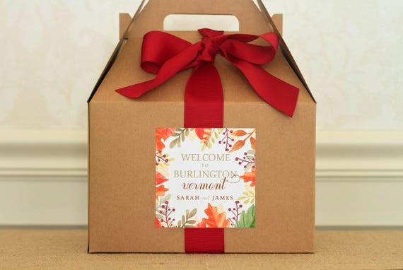 Wedding Labels For Gift Bags: Fall Wedding Welcome Box Labels. Autumn Wedding Gift Bag