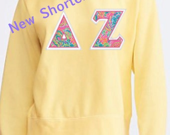 """Shorter style  """"Ladies"""" Comfort Colors Sweatshirt with Lilly Pulitzer GREEK LETTER Appliqué -  Stitched Letters!"""