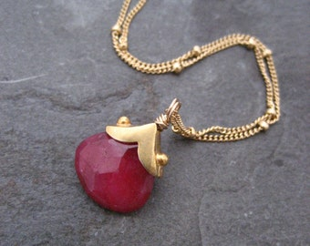Ruby Necklace, Pink gemstone, July birthstone, Single pendant, Rosy red, Dotted necklace, Capped briolette, Vibrant color, Handmade elements