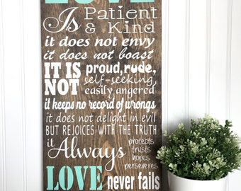 Love is Patient Wood Sign, Wedding Sign, Farmhouse Decor, Wedding Decor, Home Decor, Housewarming Gift, Wall Decor, Rustic Sign