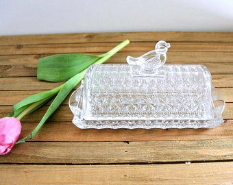 "Vintage Crystal Bird on Top Butter Dish Hofbauer Crystal ""The Byrdes Collection"""