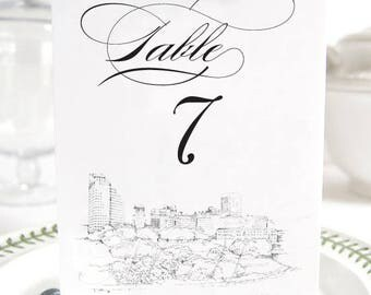 Memphis Skyline Table Numbers, Wedding Tables (1-10)