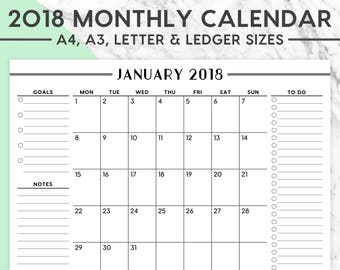 2018 MONTHLY WALL CALENDAR   A4, A3, Letter, Ledger, 2018 Planner, 2018 Calendar, 2018 Monthly Calendar, Instant Download