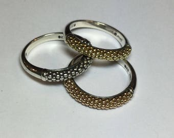 Lagos Caviar Set Of 3 Sterling 18k Gold Stackable Rings Size 7