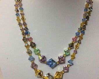 Vintage 1950's crystal aurora borealis multi colour necklace