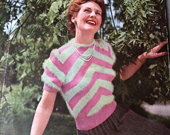 vintage Stitchcraft magazine October 1950 knitting crochet