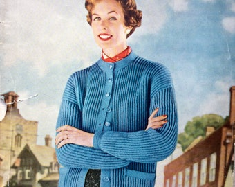 Vintage magazine Stitchcraft Feb 1955 knitting, embroidery patterns