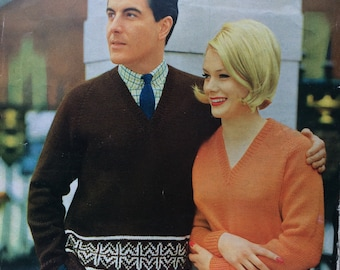 vintage knitting pattern 1960's Robin 1339 Fair Isle jumpers 36 and 40""