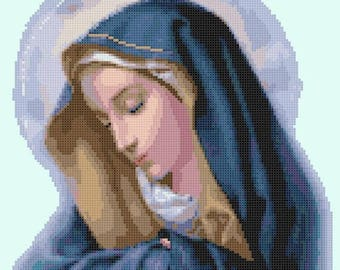 Virgin maria Madonna Cross Stitch Pattern Pdf chart file point de croix - 138W x 166H stitches - INSTANT Download - B1318