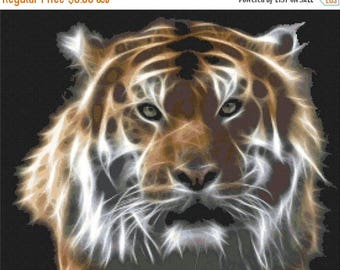Tiger Cross Stitch Pattern Pdf fractal art pattern fractal cross stitch - 276 x 220 stitches - INSTANT Download - B542