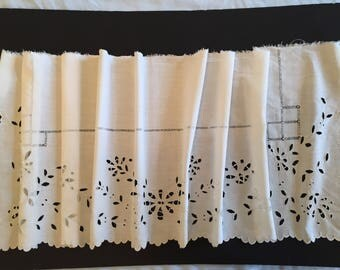 "Antique Victorian hand Embroidered Café Curtain Valance Pure White Linen 1880  1 yard 16 .5 x 17"" for home decor collection sewing accessory"