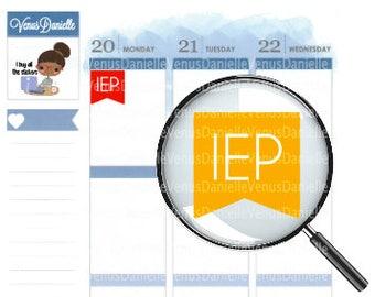 77 iep planner stickers, IEP flags, IEP meeting, IEP reminders