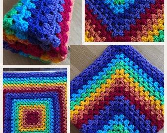 Crochet rainbow blanket car seat , pram and crib