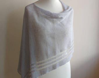 Grey knit linen poncho, summer knit poncho, boho chic poncho, linen silver shawl, linen women clothing, beach boho cover, mothers day gift