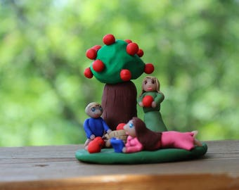 Picking Apples - Polymer Clay Figurine - Polymer Clay Decoration - Hand Sculpted Figurine - Handmade Figurine - Apple Tree Figurine