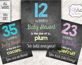Custom Weekly Pregnancy Signs Chalkboards Editable Instant Download Personalized Weekly Pregnancy Chalkboards, baby bump sign, printable