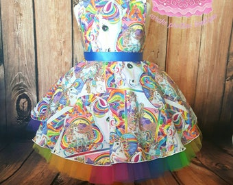 Rainbow party dress with removable tutu skirt age 2