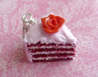 Red Velvet Cake Charm Miniature Food Jewelry Polymer Clay Cake