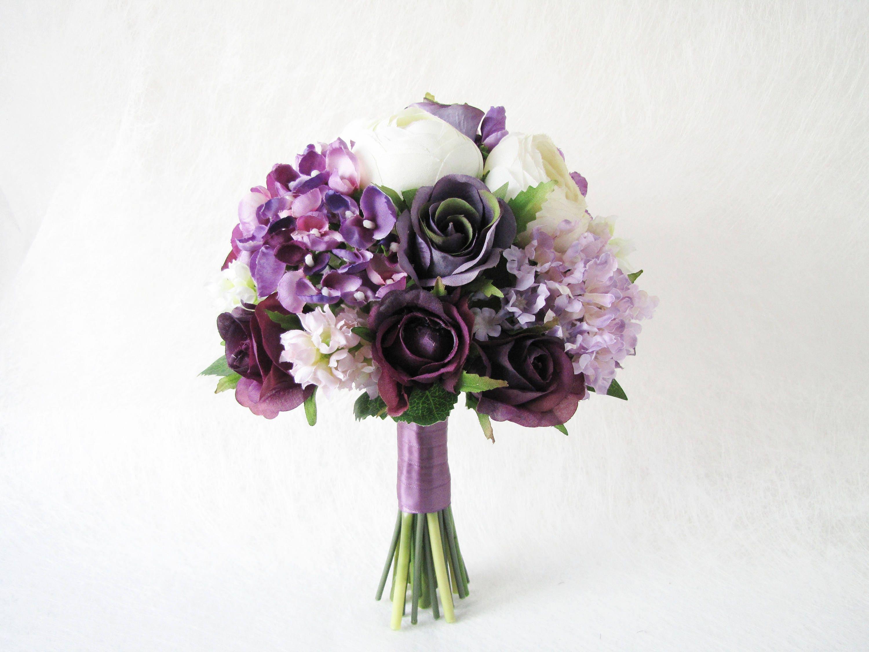 Purple Bridal Bouquet Maid Of Honour Bouquet White Pheonies