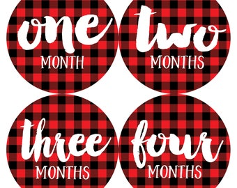 Baby Month Sticker Baby Boy Monthly Milestone Stickers Baby Shower Gift First Year Belly Stickers 12 Months Baby Buffalo Plaid Stickers Boy