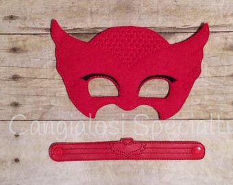 PJ Masks Owlette Inspired Mask & Bracelet Set/Child/Adult/Cosplay/Pretend Play/Costume/Halloween/Photo Booth/Birthday/Party Favor/Gift/Party
