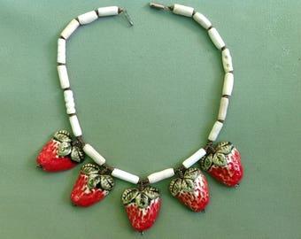 original necklace - large strawberries ceramic