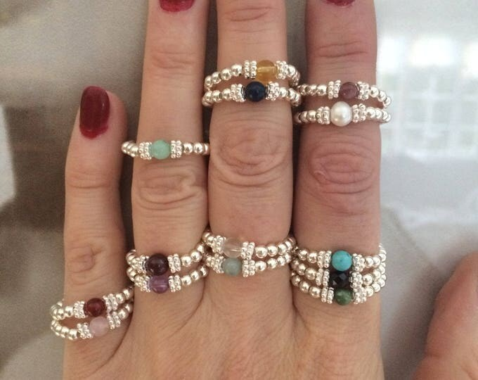 BIRTHSTONE RING Sterling Silver stackable tiny gemstone ring- Birthstone jewelry custom jewellery gift