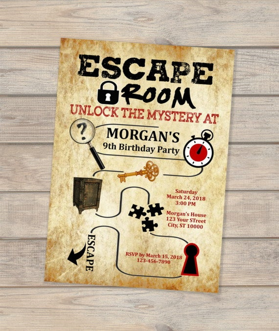 Escape room birthday invitation escape theme invitation for Escape room party