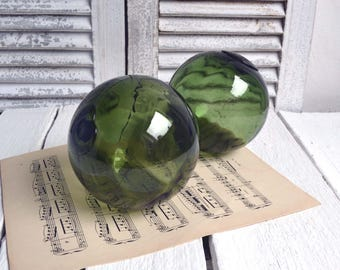 2 Vintage French Green Glass Fishing Floats Buoys Balls Beach