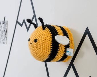 Taxidermy Crochet bee, crochet bee, Animal, Insect Bee, Trophy Head For Children's Bedroom, bee lovers, crochet bee, babies room
