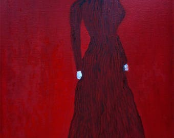 "Original oil painting by Nalan Laluk, ""Lady in Red and Black"""