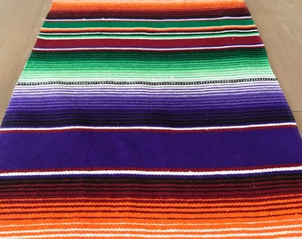 DISCOUNTED! Mexican Serape table runner, colorful purple, Southwestern decor, tribal party decor, Fiesta decorations, striped rainbow