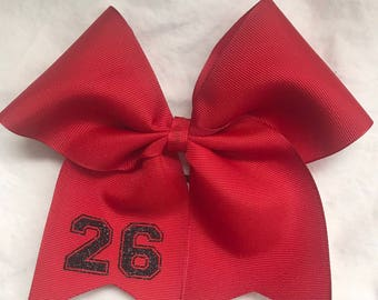 Personalized Hair Bows/ Personalized Softball Bow with Number/Personalized Hairbows/Customized Hairbows/Custom Hair Bows