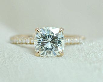 7 mm Cushion Cut Forever Brilliant Moissanite Solitaire Engagement Ring on 14K Gold with Diamonds