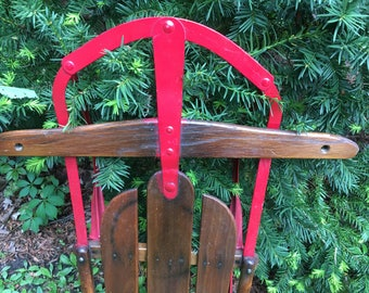 Old Fashioned Sled Vintage Wood and Metal Runner Sled