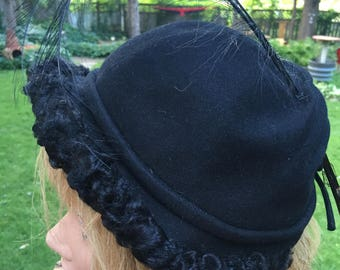 Vintage Black Wool Hat with Feather Plumes Formal Ladies Hat