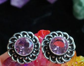 925 Stamped Pink Quartz Earrings