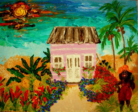 "Aunt Mae's Chattel House - Acrylic Caribbean Art Painting 16 x 20"" canvas panel, Ethnic Art; Outsider Folk Artist Stacey Torres"