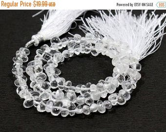 71% SALE Chrystal Side Drill Drop Shape Beads FULL Strand 6 to 8mm  Natural Stone 13 inches length AJ-8
