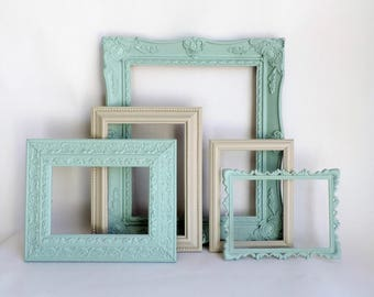 Shabby Chic Frames, Cottage Decor, Vintage Frames, Wall Art Set, Gallery Wall Frames, Gallery Wall Frame Set, Wedding Frames, Home Decor