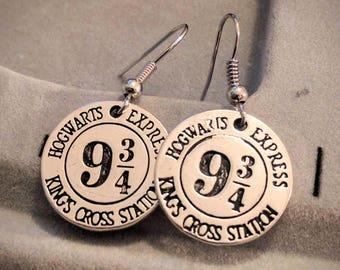 Platform 9 3/4 Earrings - Harry Potter Earrings - King's Cross Station Earrings - Hogwarts Earrings