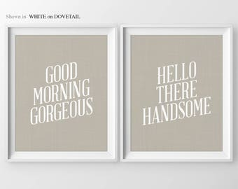 His & Hers Gifts Good Morning Gorgeous Hello Handsome Couples Bedroom Bedroom Art Bedroom Decor For Couples Bedroom Wall Art Bedroom Sign