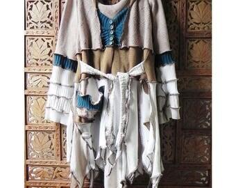 Woodland inspired Elf Coat White Elf Coat Pixie Elf Sweater Coat Upcycled Sweater Coat 'Baroness Ladypool...' Size L by the Gypsy Fae