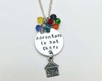 Adventure is Out There Carl and Ellie Disney Pixar Up Inspired Hand Stamped Charm Necklace