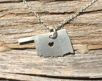 Oklahoma State Necklace, Oklahoma Pendant, Sterling Silver, Oklahoma Necklace, 3 Sizes, Holiday Gifts, Wholesale Prices