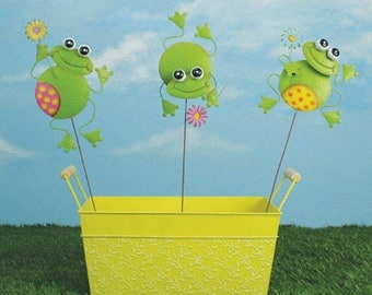 "5.5"" Jumpy Frog Pick - Set of 3 / Wreath Supplies/ Spring-Summer Decoration/ 66806"