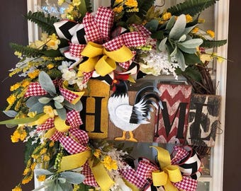 Farmhouse Wreath, Rooster Home Wreath, Rooster Grapevine Wreath, Home Wreath,Rooster Home Sign Wreath,Rustic Rooster Wreath,Floral Wreath
